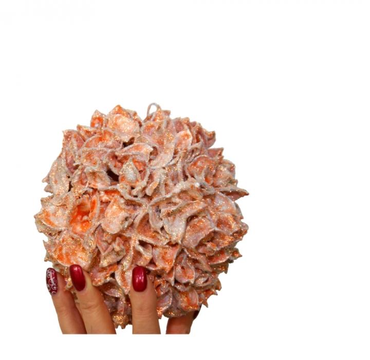 Oppacher Weihnachtswunschkugel orange mit Glitter [Größe der Kugel ca. Ø  12,5cm]