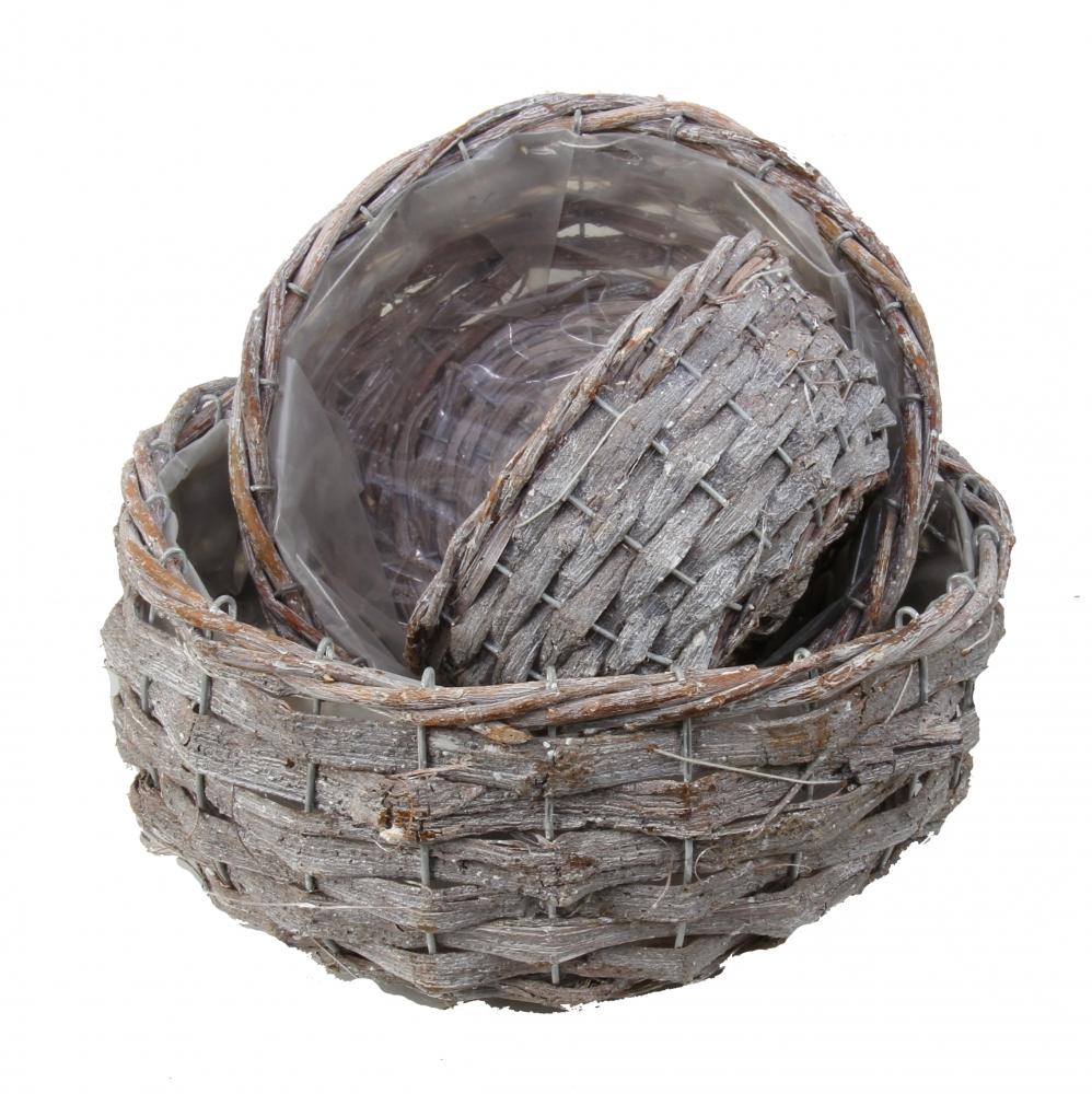 Korbset aus Rinde rund in 3 Größen in Stonewashed mit Folie Innen