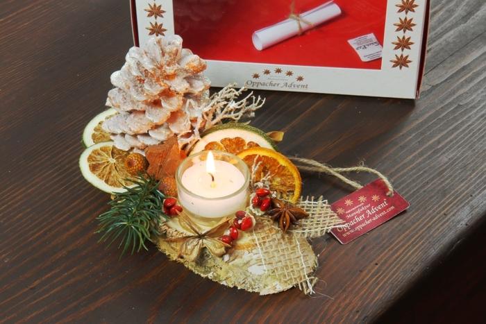 Oppacher Kerzen Tischgesteck Klein In Orange