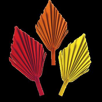 Palm Spear mit  Stiel medium im 3fach Farbmix  (50 Stück)