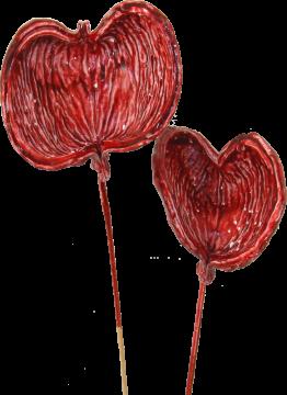 Badam am Stiel gewachst rot antik (250 Stück)