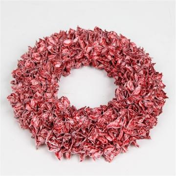 Baumwollfrucht Kranz gewachst in Rot Antik ( Ø 30cm )