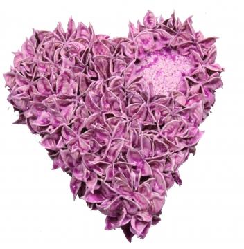 Baumwollfrucht Herz gewachst in Brombeer ( Ø 25cm ) (6 Stück)