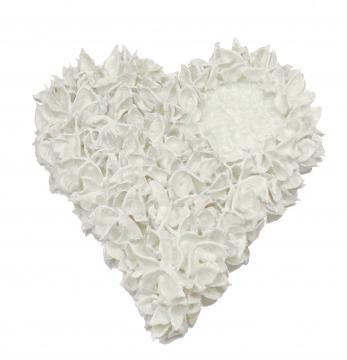 Baumwollfrucht Herz gewachst in Creme Weiß Ø 25cm (6 Stück)