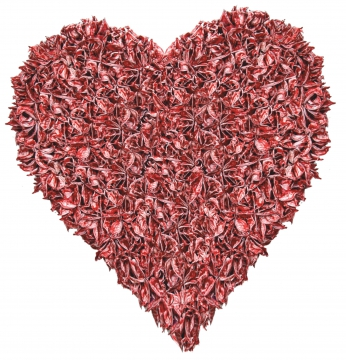 Baumwollfrucht Herz gewachst in Rot Antik ( Ø 25cm ) (6 Stück)