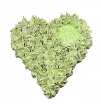 Baumwollfrucht Herz gewachst in Grün Light ( Ø 25cm ) (6 Stück)