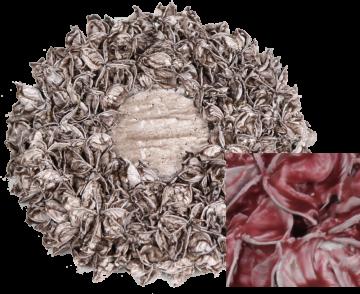 Baumwollfrucht Kreis 25cm gewachst rot antik (6 Stück)