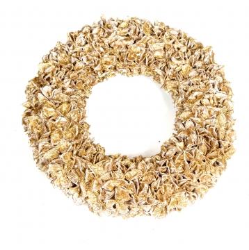 Baumwollfrucht Kranz gewachst in Gold Glitter ( Ø 30cm ) (4 Stück)