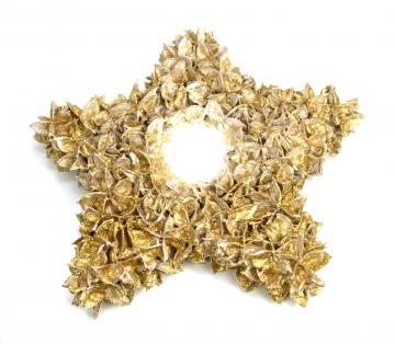 Baumwollfrucht Stern gewachst in Gold Glitter ( ca. 30cm ) (4 Stück)