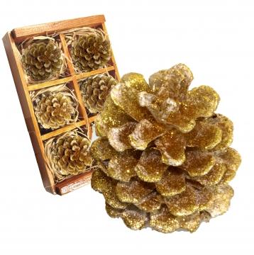Weihnachtszapfen gewachst in Gold Glitter ( Holzbox - 6 Stück)   (8 Stück)