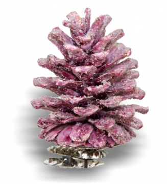 Weihnachtszapfen gewachst in Brombeer Glitter (300 Stück)