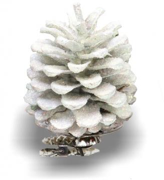Weihnachtszapfen gewachst in Creme Weiß Glitter (300 Stück)