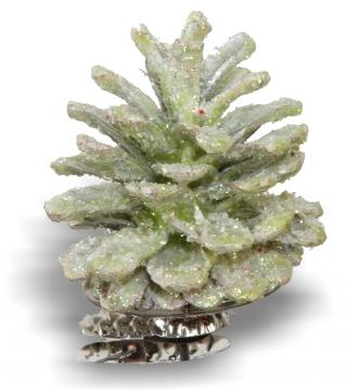 Weihnachtszapfen gewachst in Grünlight Glitter (300 Stück)