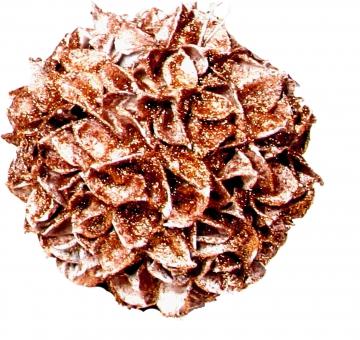 Baumwollfrucht Kugel gewachst in Kupfer Glitter ( Ø 18cm ) (6 Stück)