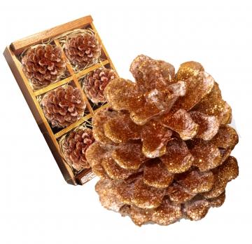 Weihnachtszapfen gewachst in Kupfer Glitter ( Holzbox - 6 Stück)   (8 Stück)