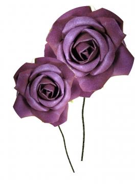 Schaumrose klein 6cm mit Stiel lila (Btl. mit 24 Stück) (30 Stück)