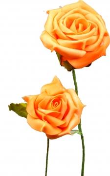 Schaumrose klein 6cm mit Stiel orange (Btl. mit 24 Stück) (30 Stück)