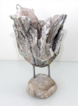 Wurzelholz Vase mit Ständer klein ca. 35cm hoch in Stonewashed