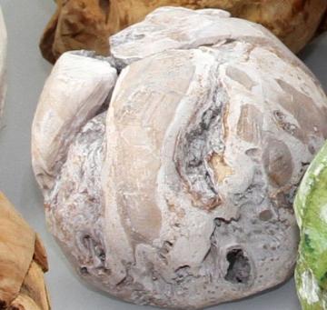 Wurzelholz Kugel mittel ca. 20cm frosted oliv (4 Stück)