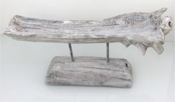 Wurzelholz Schale mit Ständer ca. 60cm lang in Stonewashed