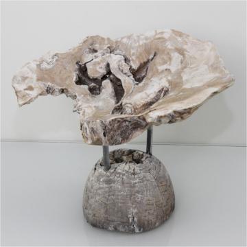 Wurzelholz Schale mit Ständer ca. 25cm stonewashed