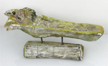 Wurzelholz Schale lang mit Ständer ca. 60cm frosted grün