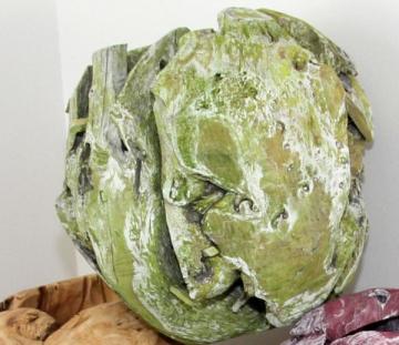 Wurzelholz Kugel groß ca. 28cm frosted grün