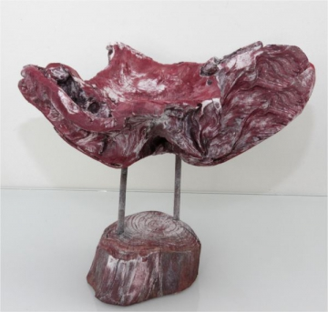Wurzelholz Schale mit Ständer ca. 25cm frosted bordeaux