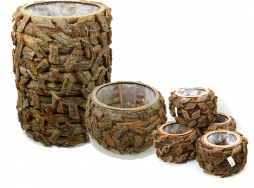 Rindenholz Pflanzgefäß 3er Set rund in Natur mit Pflanzfolie [Gesamt 6 Gefäße]
