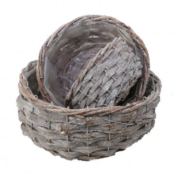Pflanzkorb Set ´Rustika´ oval 3er Set [Ø20+Ø25cm+Ø30cm] in Stonewashed mit Pflanzfolie (5 Stück)