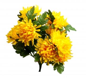 Chrysanthemen Kunststrauß in Gelb (12 Stück)