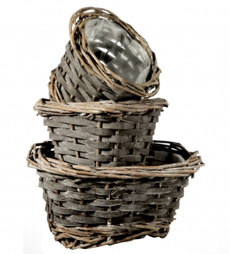 Körbchen Set in Blackwashed ( rund, oval & eckig mit Pflanzfolie )