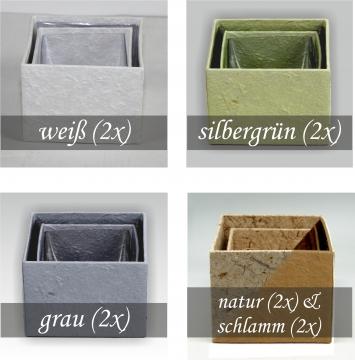 Blumen Boxx 20er Set Natur [10x10x10x12cm + 10x 8x8x10cm]