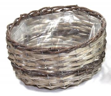 Weiden Pflanzkorb rund [Ø 25cm H13cm] in Stonewashed bicolor mit Pflanzfolie (6 Stück)