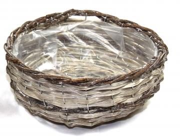 Weiden Pflanzkorb Rund in Stonewashed Bicolor mit Pflanzfolie ( Ø 33cm H13cm ) (6 Stück)