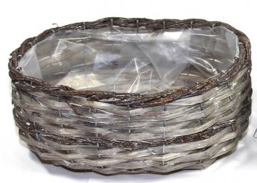 Weidenkorb Stonewashed - Bicolor Klein, Oval [27x22x15cm] (6 Stück)