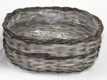 Weidenkorb Stonewashed - Bicolor Groß, Oval  [33 x 27 x 16cm] (6 Stück)