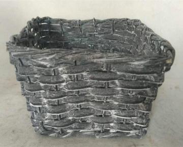 Weiden Pflanzkorb eckig in Blackwashed mit Pflanzfolie ( 30x30cm H17cm ) (6 Stück)