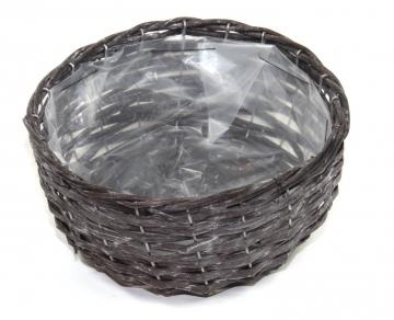 Weiden Pflanzkorb rund [Ø 25cm H13cm] in Blackwashed mit Pflanzfolie (6 Stück)