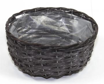 Weiden Pflanzkorb rund [Ø 33cm H13cm] in Blackwashed mit Pflanzfolie (6 Stück)