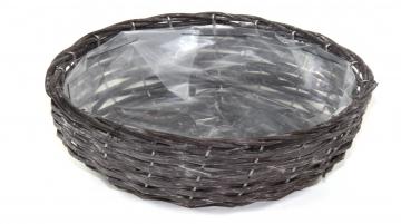 Weiden Pflanzkorb oval [Ø 25cm H13cm] in Blackwashed mit Pflanzfolie (6 Stück)