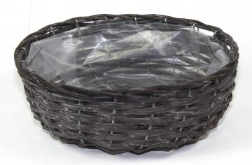 Weiden Pflanzkorb oval [Ø 33cm H13cm] in Blackwashed mit Pflanzfolie (6 Stück)
