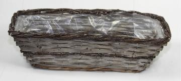 Weiden Pflanzkorb rechteckig [L45cm B18cm H14cm] in Stonewashed bicolor mit Pflanzfolie (6 Stück)