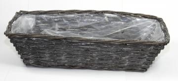 Weiden Pflanzkorb rechteckig [L52cm B20cm H14cm] in Blackwashed mit Pflanzfolie (6 Stück)