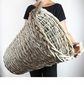 Henkelkorb Natur ´Massiv´mit Kordelgriffen ( Ø 44cm H 55cm )