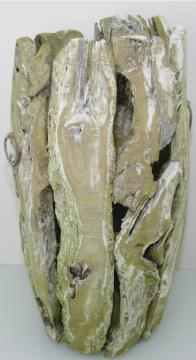 Wurzelholz Vase groß ca. 70cm frosted oliv