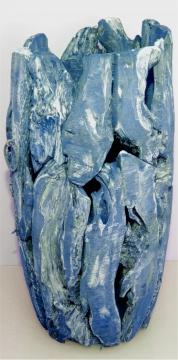 Wurzelholz Vase groß ca. 70cm frosted blau