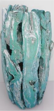 Wurzelholz Vase groß ca. 70cm frosted türkis