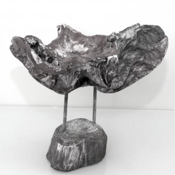 Wurzelholz Schale mit Ständer ca. 25cm blackwashed (2 Stück)