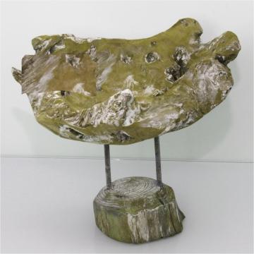 Wurzelholz Schale mit Ständer ca. 25cm frosted oliv (2 Stück)